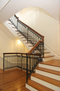 Stairway Collection - Contemporary Wood and Wrought Iron Stairway