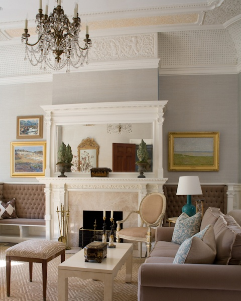 Eclectic Living Room with fireplace - Connaughton Construction