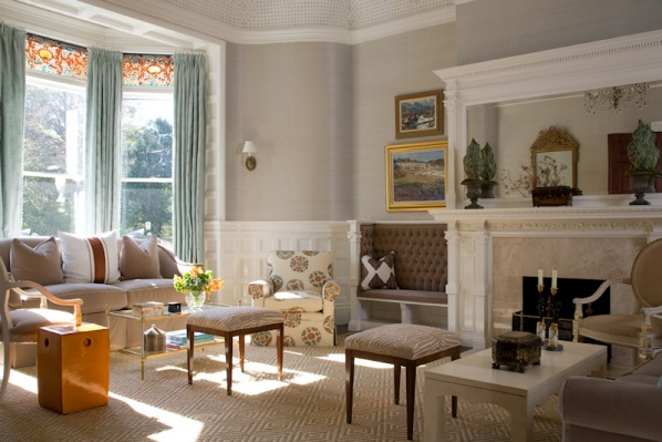 Living Room with large window and fireplace - Connaughton Construction