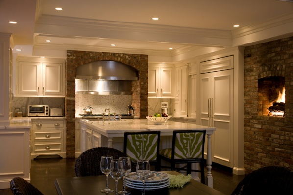 Historic Preservation - Kitchen with Fireplace - Connaughton Construction