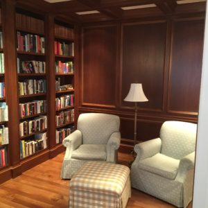 Elegant Library with Builtin Mahogany Shelves. 310_Marlborough_Street by Connaughton Construction