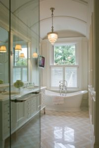 Glass Shower Walls & Freestanding Tub