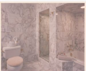 Gray & White Italian Marble Bath